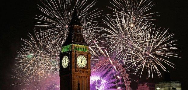 London New Year Big Ben fireworks