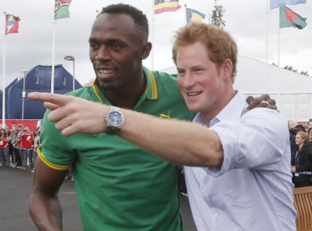 Prince Harry meeting Usain Bolt